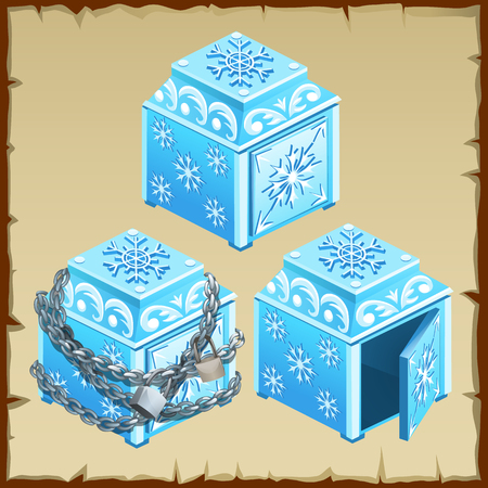 arcane: Three vector blue chest of ice, open and closed Stock Photo