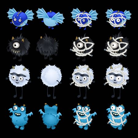 prisoner ball: Set of funny monsters from hell, cartoon character for animation