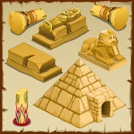 Sarcophagus and the pyramid, symbols of ancient civilization