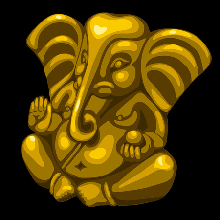 east indian: Golden statue of an elephant, one vector object closeup