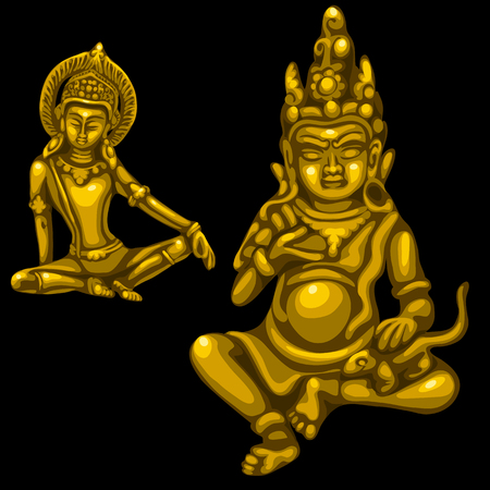 deities: Two Golden figures of male and female deities in Indian style