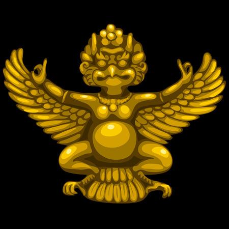 deity: Golden statuette of the deity of Garuda in Indian style Illustration