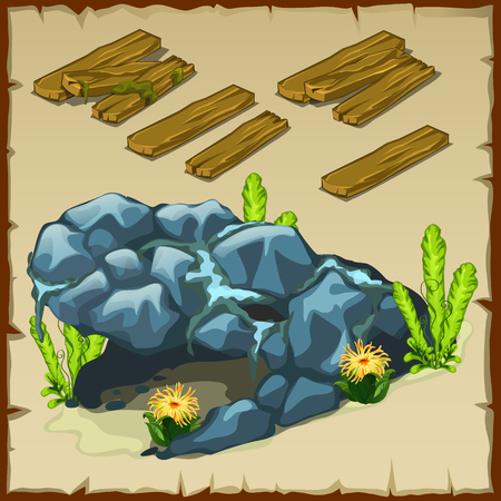 dilapidated: Board and an underwater grotto, vector illustration