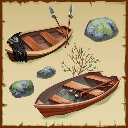 Two ancient pirate boats on land, vector illustration