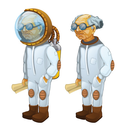 bald: Bald scientist with diving and without it, cartoon character