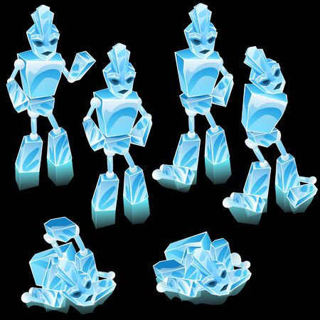 thaw: Robot of ice blocks, cartoon character for animation Illustration