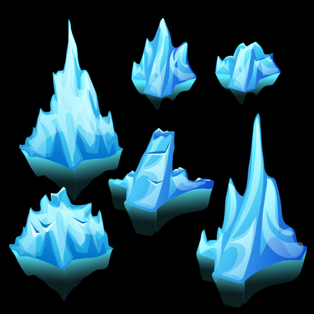 floe: Icebergs set of different shape and size on a black background