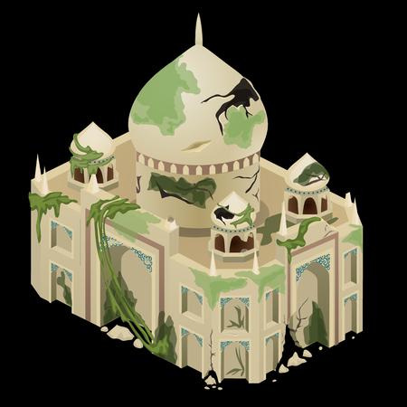 Ancient ruined temple closeup, single vector object Vektorové ilustrace
