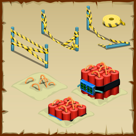 police tape: Set of dynamite and police tape, vector images Illustration