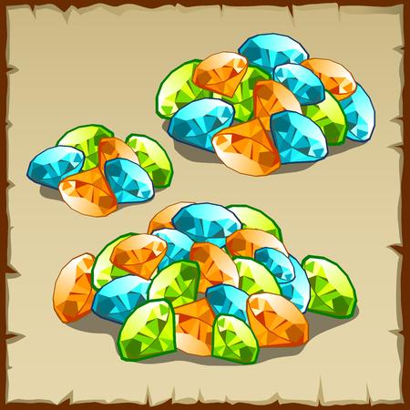 precious: Handful precious stones of different colors, three piles gems Illustration
