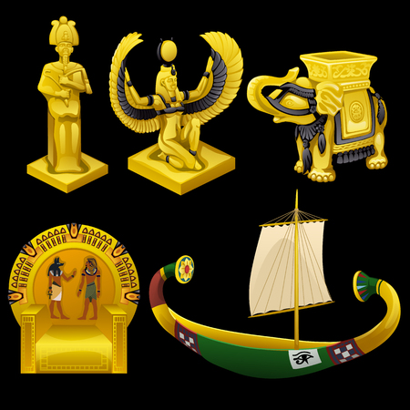 tutankhamen: Symbols of Egypt, monuments, and other vector items Illustration
