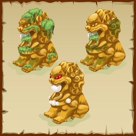 stone lion: Three Golden statues of a lion dirty and cleaned and gem Illustration