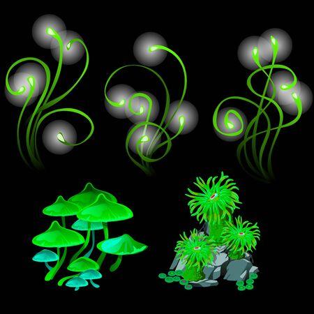 champignons et polypes rougeoyantes fantastiques, ensemble de plantes vertes