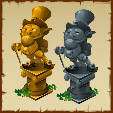 clover face: Statues of men made of gold and bronze, tradition symbol
