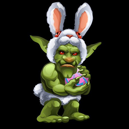troll: Funny green Troll in Bunny suit with ball, cartoon character