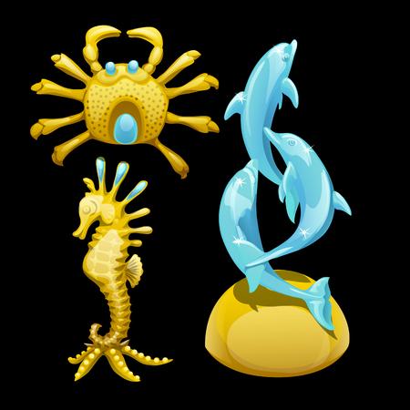 cangrejo caricatura: figura dorada de un cangrejo, caballitos de mar y delfines, la imagen de los habitantes del mar Vectores