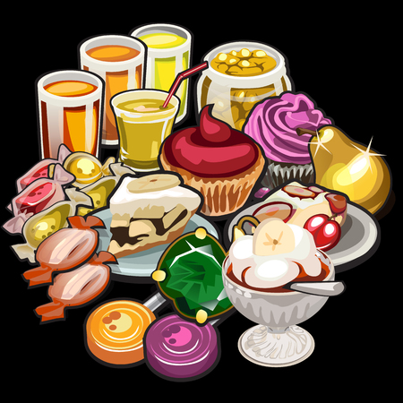 eating fruit: Big set of juices, candy, desserts on a black background Illustration