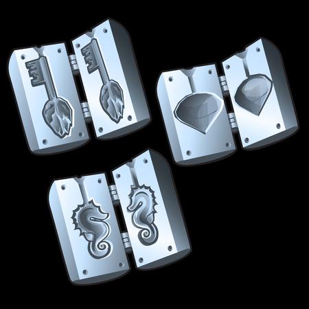 Trois moules pour la fonderie des différentes formes, objets vectoriels