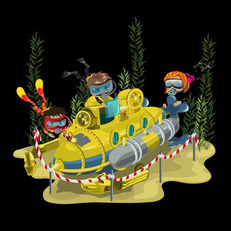 海底、ベクトル図 3 ダイバーに囲まれて