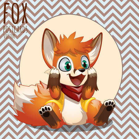 pelt: Happy little orange Fox, cartoon vector character, series Fox
