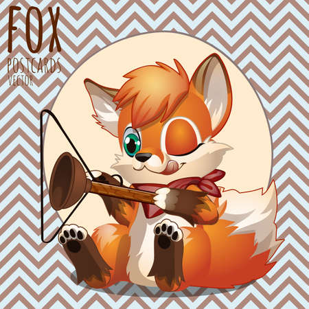 disobedient child: Naughty Fox playing with household items, series Fox