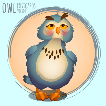 eagle owl: Funny blue owl, vector cartoon series owls Illustration