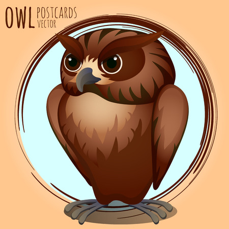 eagle owl: Strict brown owl, vector cartoon series owls Illustration