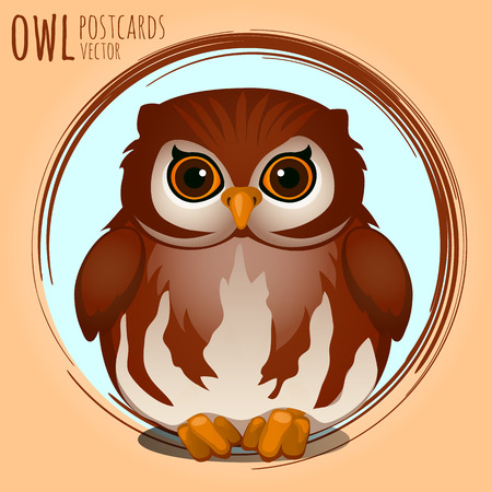 eagle owl: Shubby brown owl, vector cartoon series owls