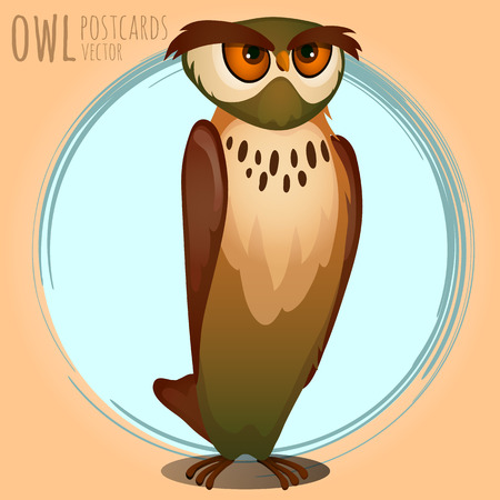 eagle owl: High brown owl, vector cartoon series owls