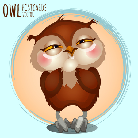 eagle owl: Pleased brown owl, vector cartoon series owls