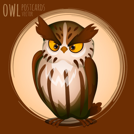 eagle owl: Menacing brown owl, vector cartoon series owls