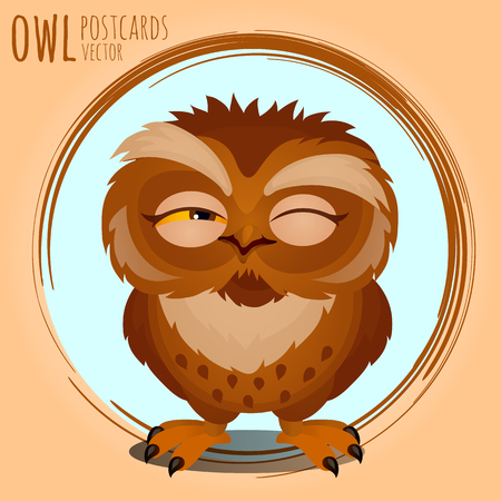 character traits: Tricky brown owl, vector cartoon series owls
