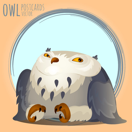 eagle owl: Tapered grey owl, vector cartoon series owls