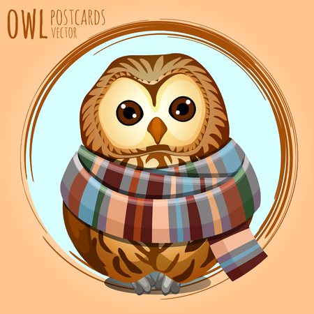 character traits: Sad owl in a warm scarf, vector cartoon series owls