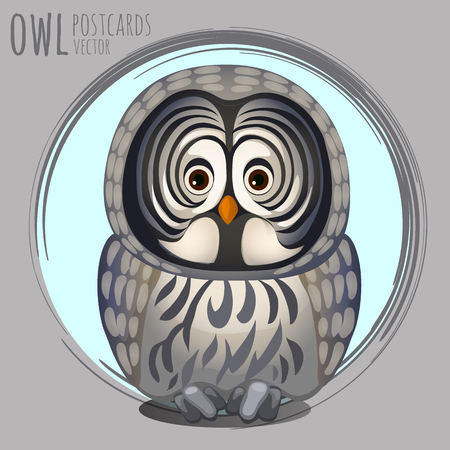 eagle owl: Smart grey owl, vector cartoon series owls