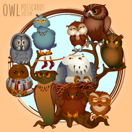 traits: Ten different owls on a branch, vector cartoon series owls Illustration