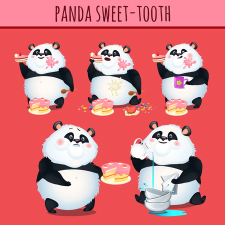 slovenly: Panda sweet tooth eating cake, cute character animation Illustration