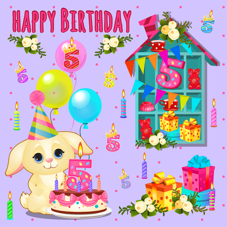 in the dog house: Happy birthday card with cute pet and toys, cake, gift, flowers and candles