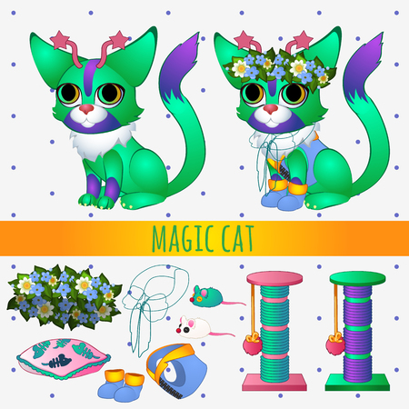 fish animal: Green magic cat with toys and summer accessories, series vector illustrations with space cats