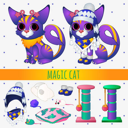 toy fish: Purple magic cat with toys and winter clothing, series vector illustrations with space cats