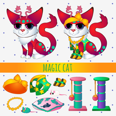 clothes cartoon: Red magic cat with toys and clothing, series vector illustrations with space cats