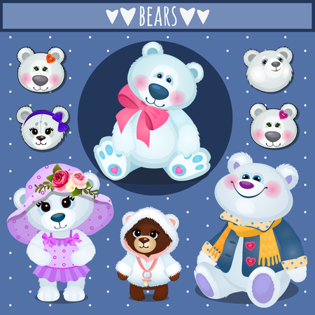 clothes cartoon: Set of white Teddy bears, big family, accessories, clothing