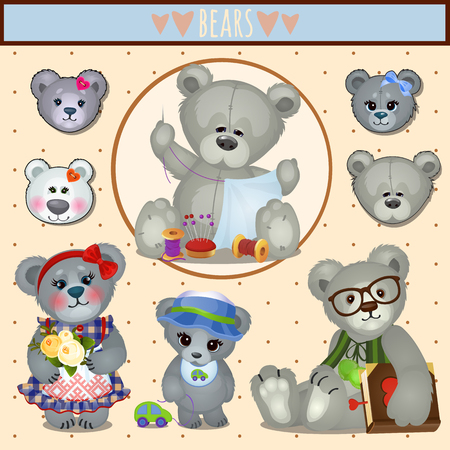 clothes cartoon: Set of gray Teddy bears, big family mom, dad and children, accessories, clothing, toys