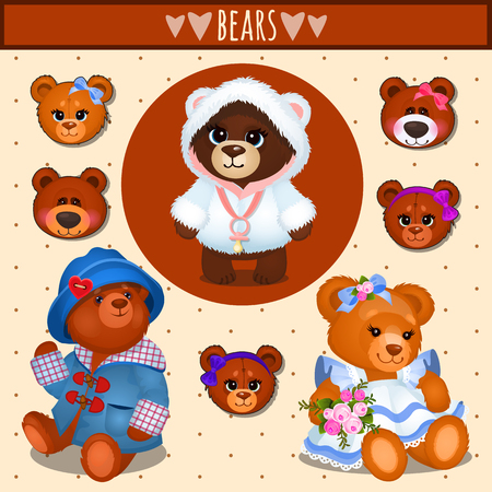 love rose: Set of brown Teddy bears, big family, accessories, clothing Illustration