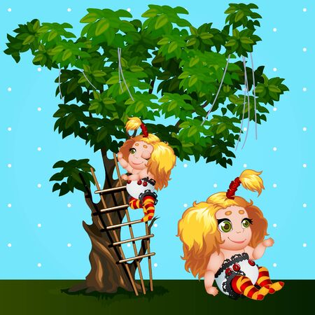 cartoon dress: Little girls playing in the Park next to the tree, cartoon vector characters Illustration