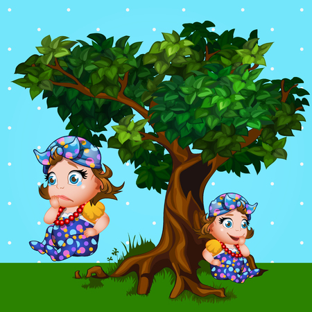 baby girls: Little girl next to the tree, cartoon character with different emotions