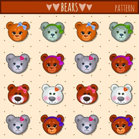 face  illustration: Great vector set of heads Teddy bears different colors