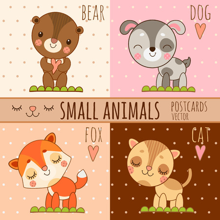 cute images: Four simple cute images of animals, dog, cat, fox, bear, cartoon vector set Illustration