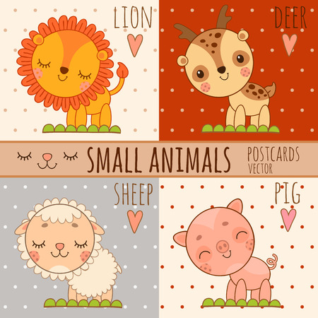 cute images: Four simple cute images of animals, lion, deer, sheep, pig, cartoon vector set Illustration