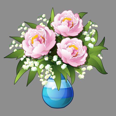 peonies: Elegant bouquet of pink peonies, vector illustration isolated Illustration